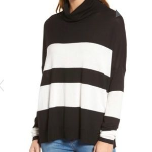 Nordstrom PRESS Wide Stripe Turtleneck Sweater